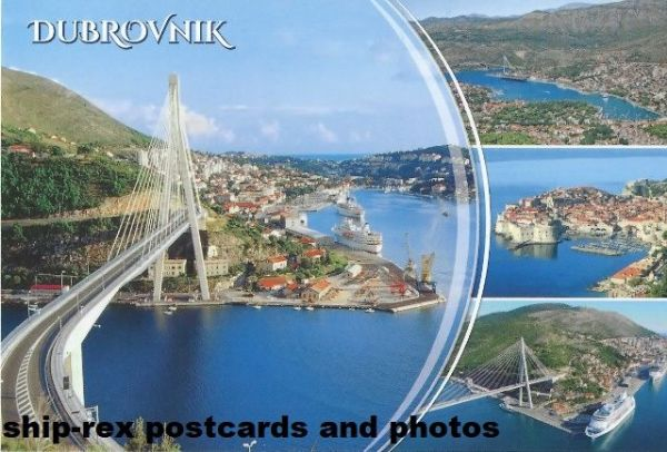 Dubrovnik multi-view postcard, various cruise ships